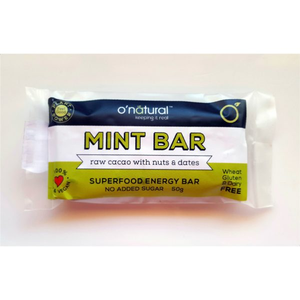 O'Natural Minty Raw Cacoa Nuts & Dates Food Bar